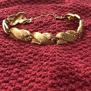 """Monet brushed gold plate bracelet signed 7"""""""